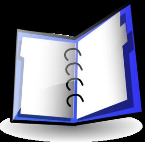 open blue binder
