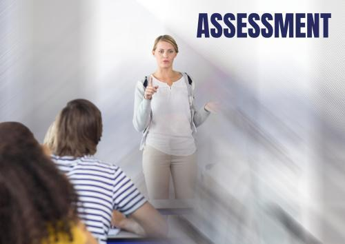 Assessment text and teacher with class