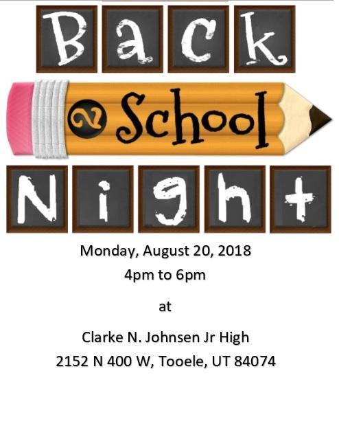 CNJJHS Back to school night is August 20 from 4 to 6 PM. Hope to see you there!