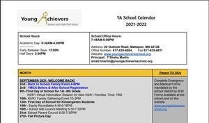 YA Calendar SY 21-22