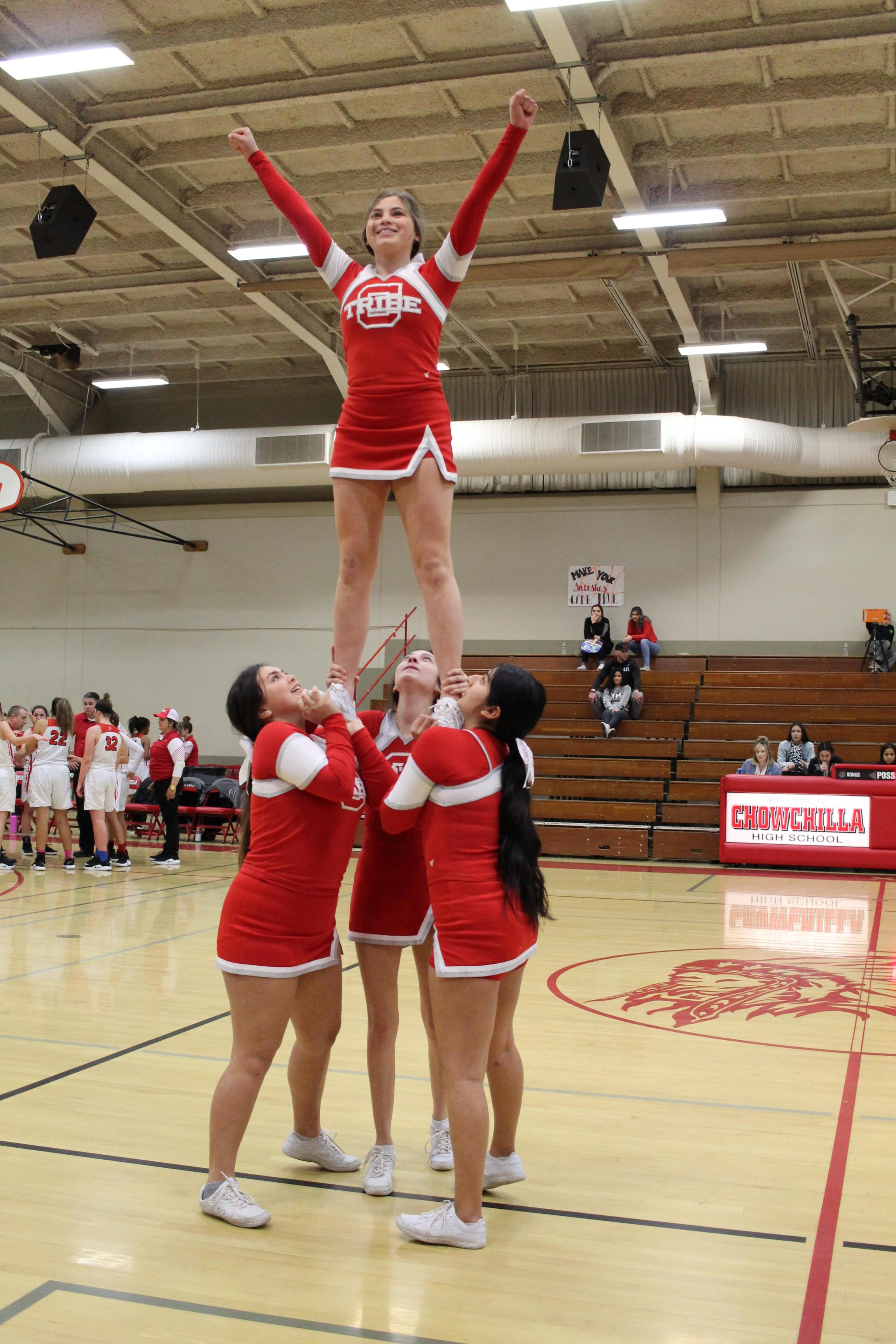 Cheerleaders at the Granite Hills basketball game