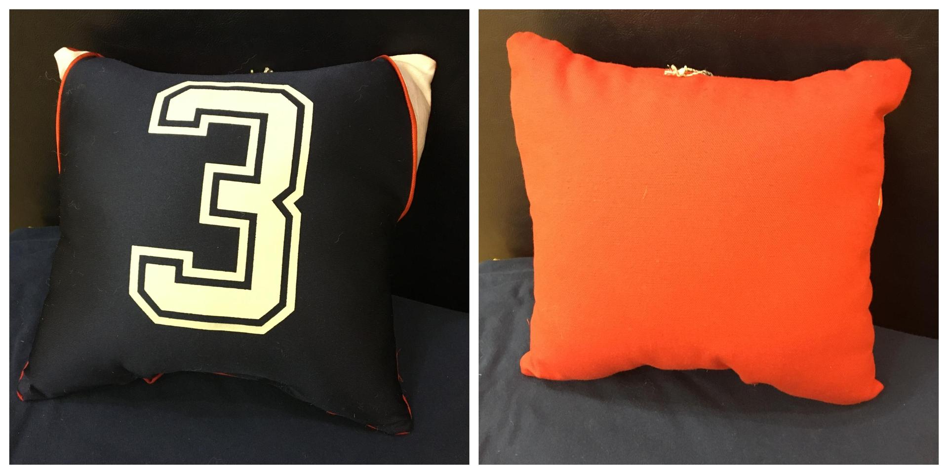 Small Navy Jersey Red Back Pillow