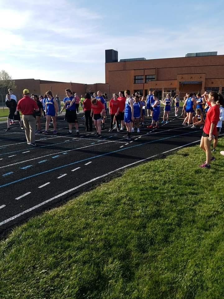 Lining up to race at Unified Track Meet
