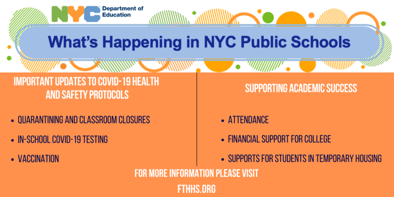 What's Happening in NYC Public Schools.Important Up. Supporting Academic Success. Attendance. .Financial Support for CollegeSupports for Students in Temporary Housing. dates to COVID-19 Health and Safety Protocols. Quarantining and Classroom Closures. In-School COVID-19 Testing. Vaccination.