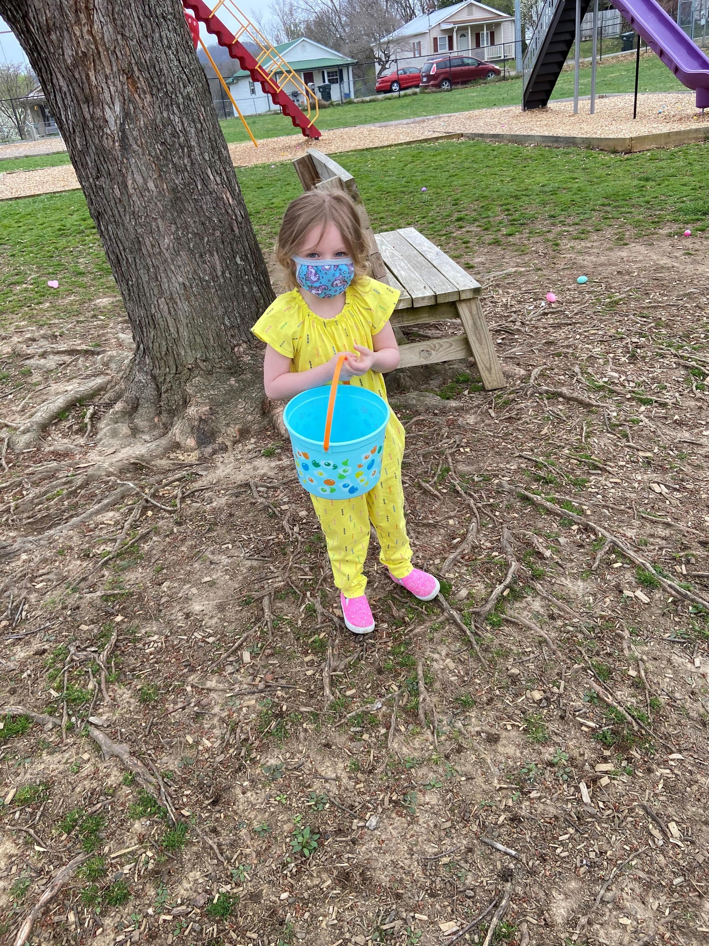 Harlee hunting for eggs