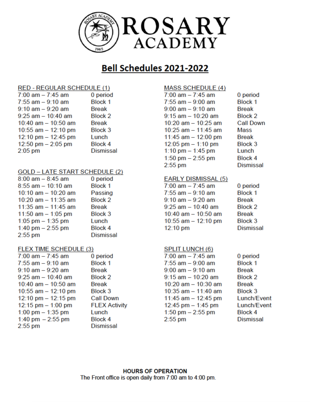 2021-2022 Bell Schedule Featured Photo