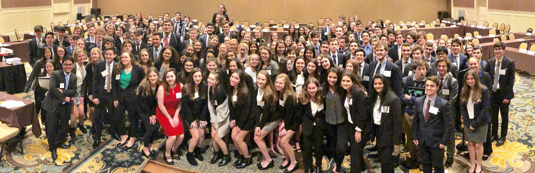 Westfield High School's Model United Nations Club won the Outstanding Delegation Award for excelling in all parts of the annual conference held in Hershey, PA on January 4-6, 2019.  Pictured here are all members of the Model UN Club who attended the conference.