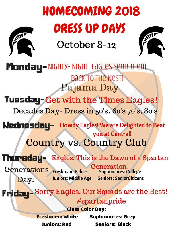 Homecoming 2018 Dress Up Day Schedule