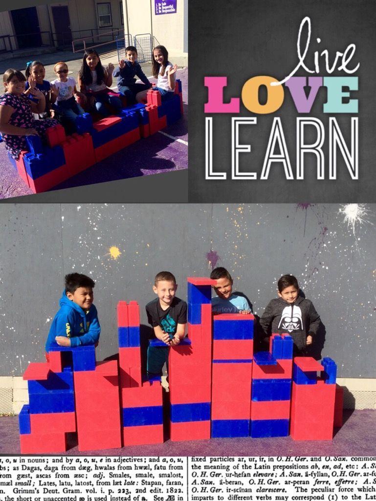 Students building with Legos at recess