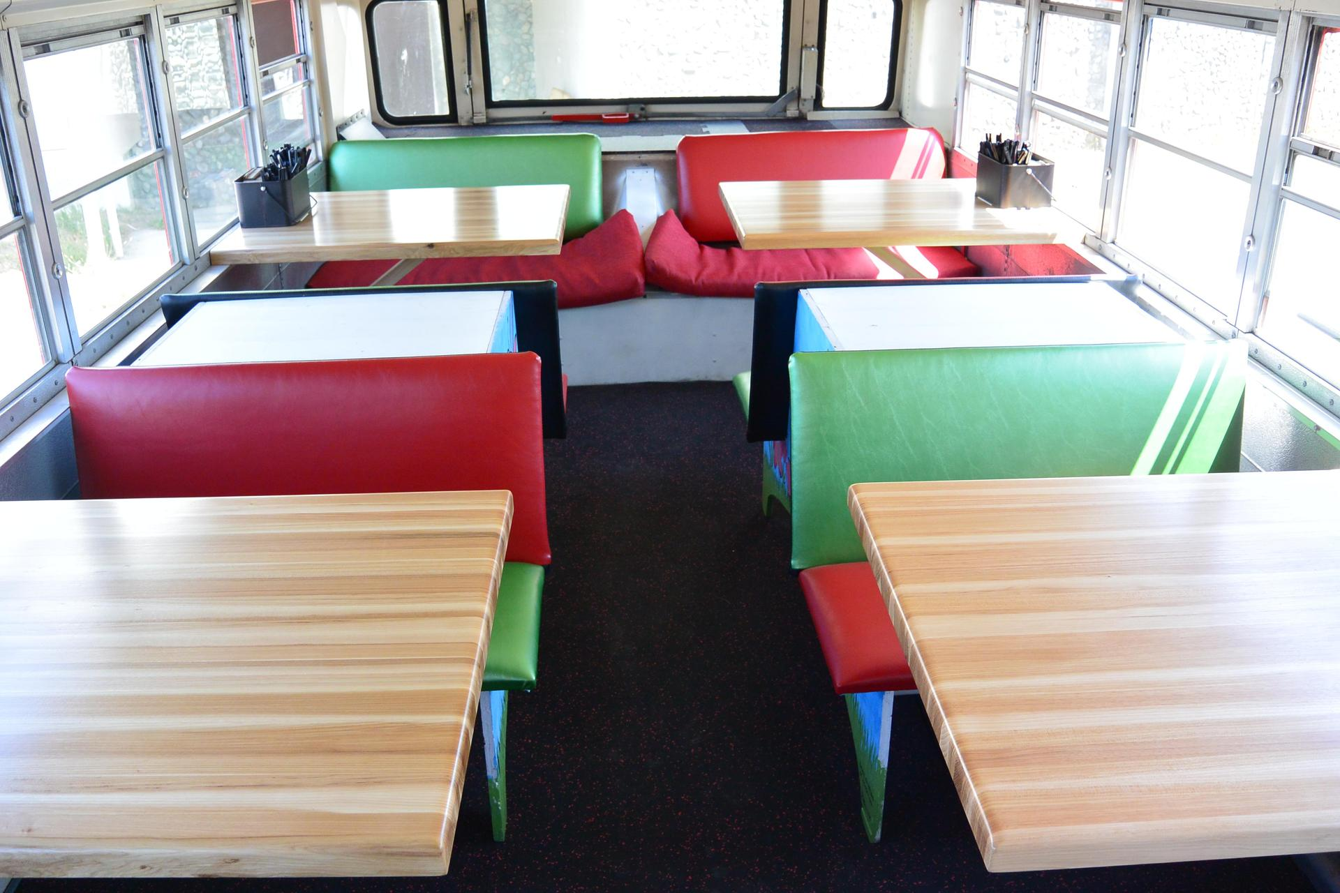 red and green seats