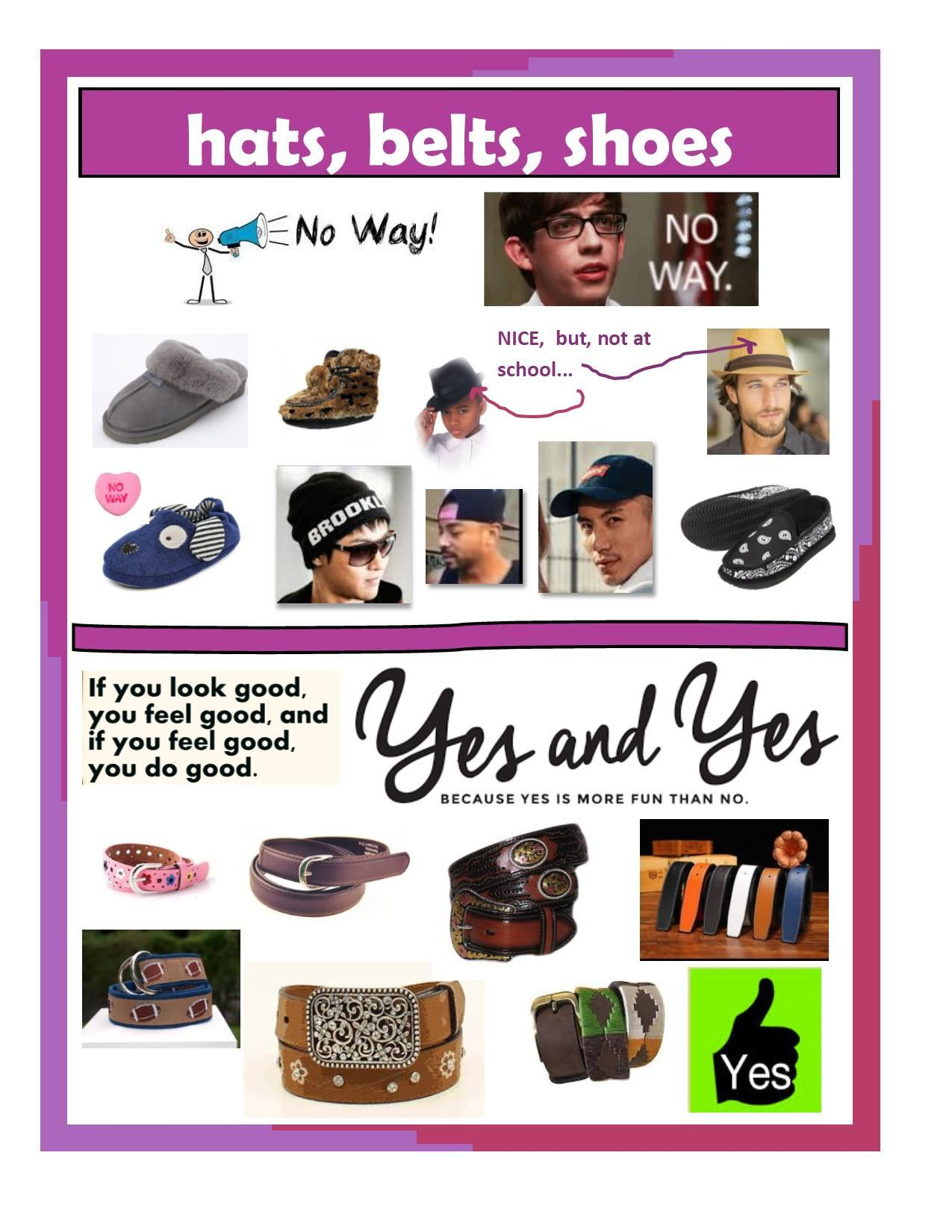 hats shoes belts for dress code flyer
