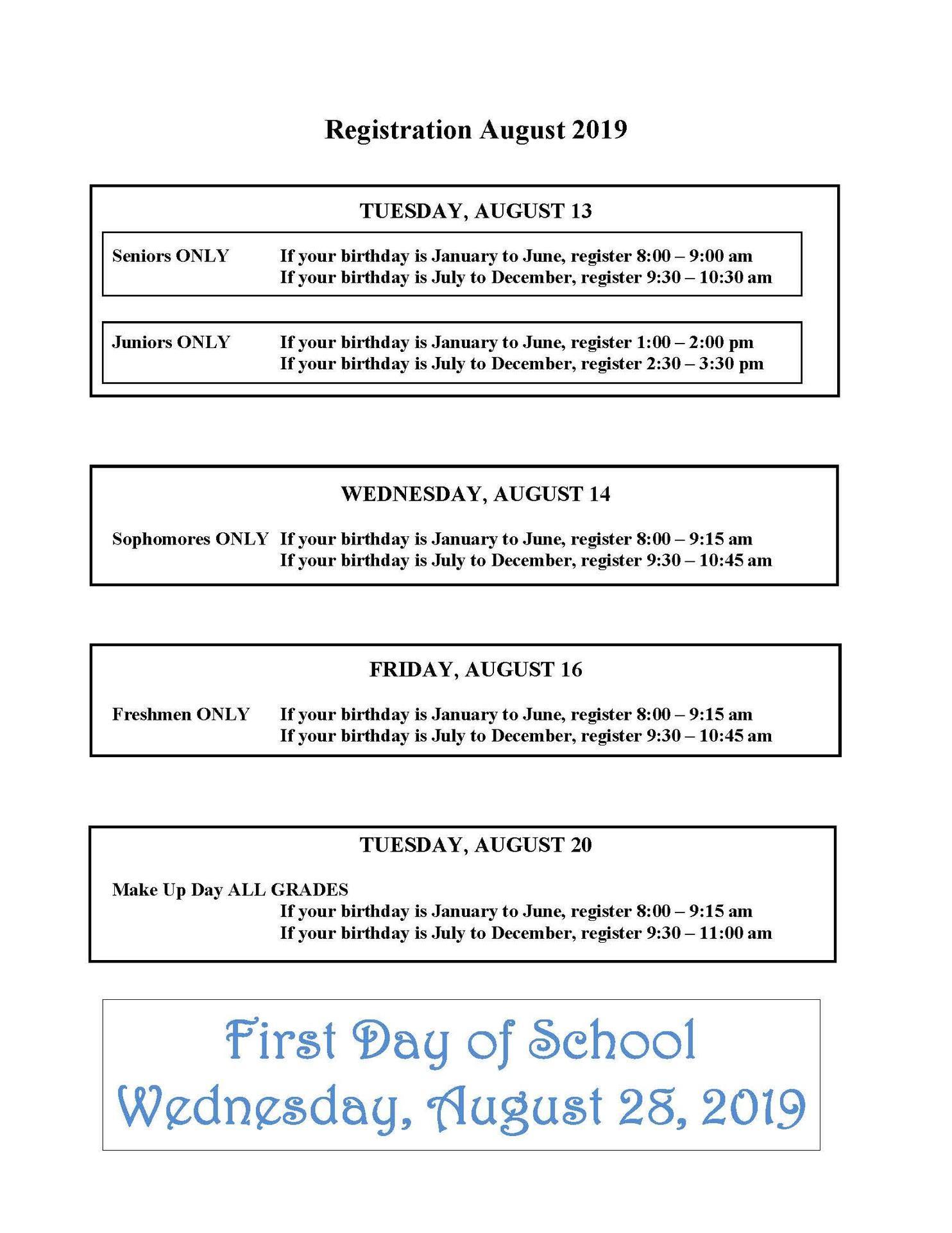 August 2019 Registration Schedule