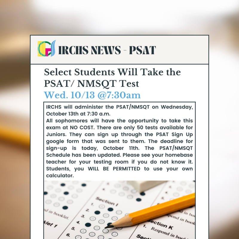Select Students Will Take the PSAT/ NMSQT Test Wed. 10/13 @7:30am Featured Photo