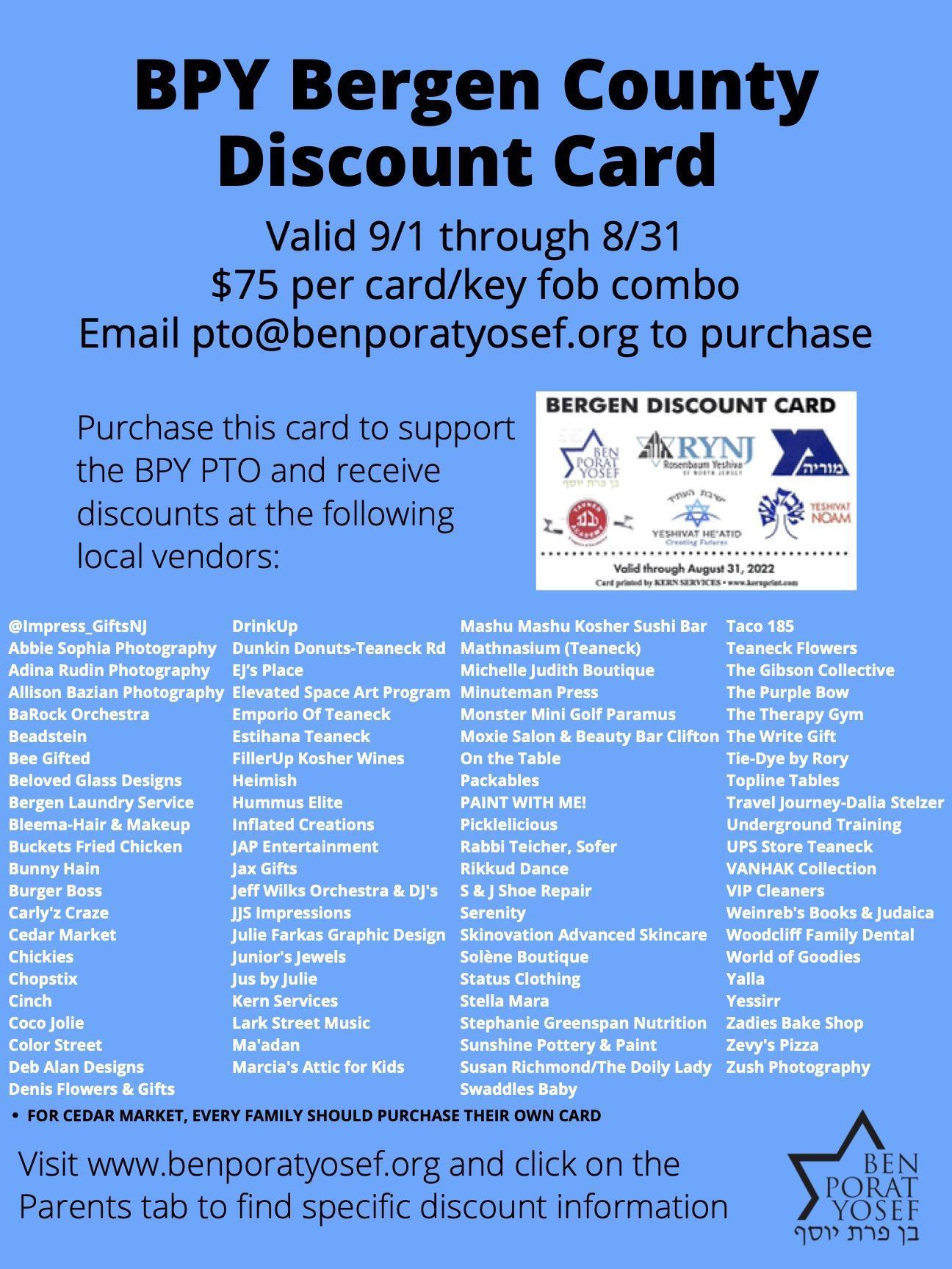 Flyer regarding discount card