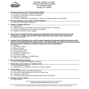 BOE Agenda for 8/11/2020 meeting