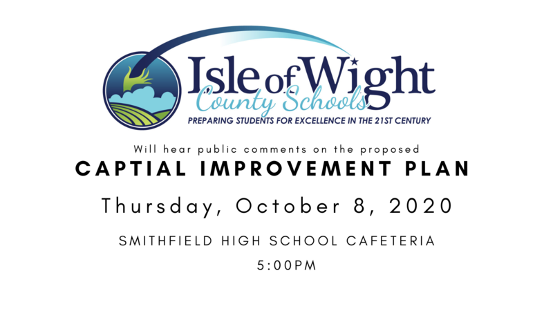 IWCS will hear public comments on the proposed Capital Improvement Plan; Thursday, October 8, 2020 in the cafeteria of Smithfield High School at 5:00 PM