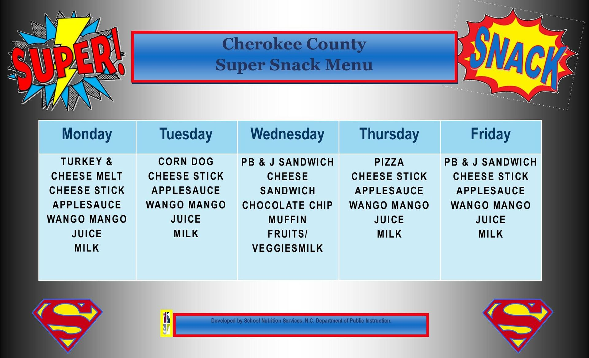 November 2020 Super Snack Menu