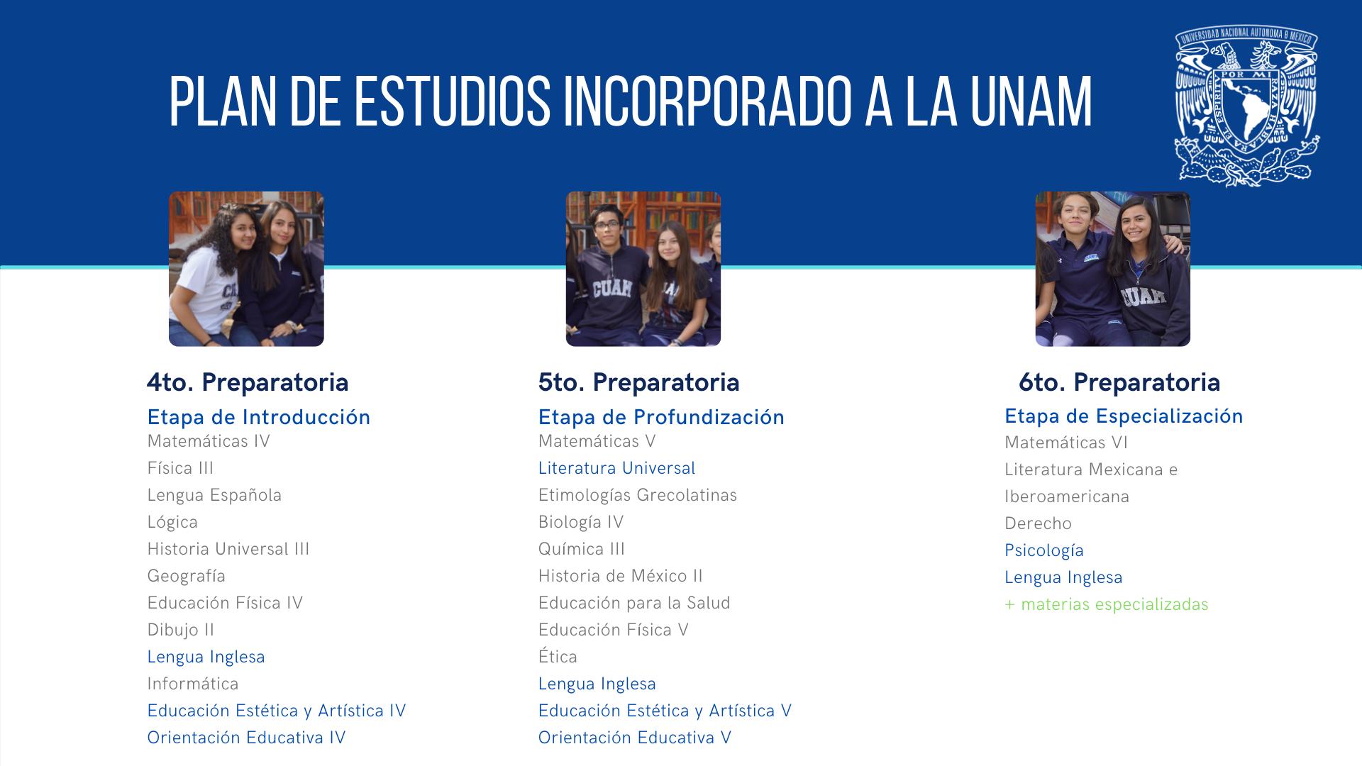 Plan de estudios incorporado a la UNAM