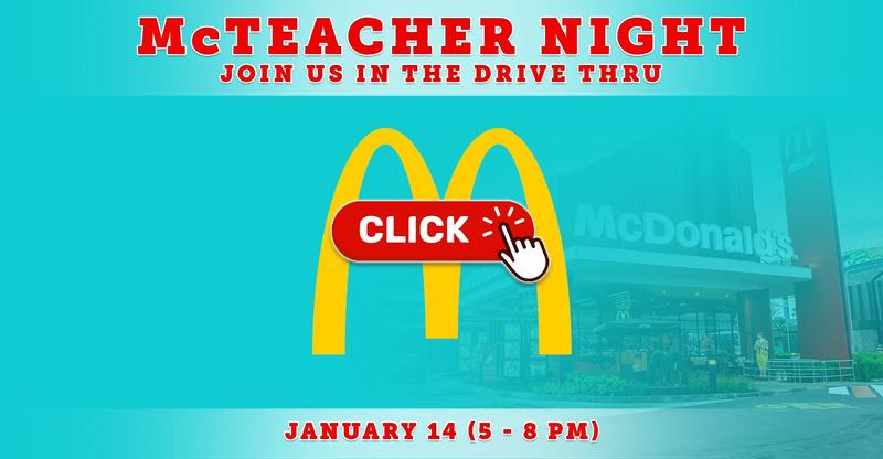 McTeacher Night on January 14 (5:00 - 8:00 PM)