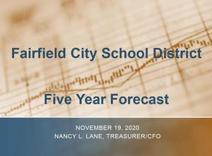 This is an image of the title page of the Five Year Forecast. The background is a photo of a graph.