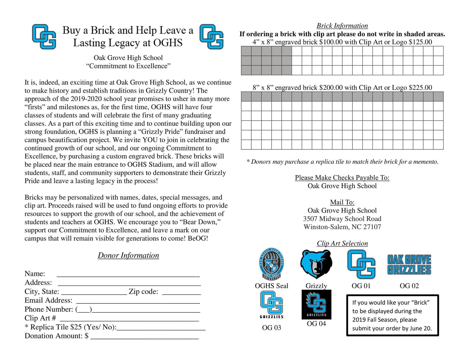 Brick Fundraiser Order Form