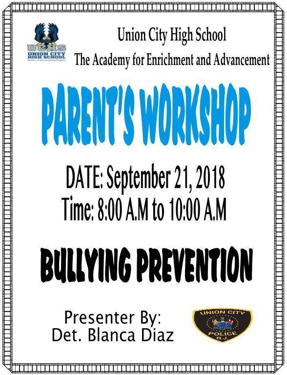 parent breakfast workshop on Bullying Prevention flyer