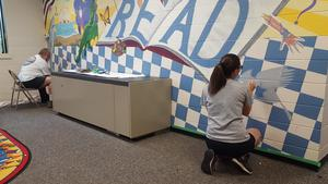 Sonny Harlow and Megan Davies did a fabulous job updating the mural.