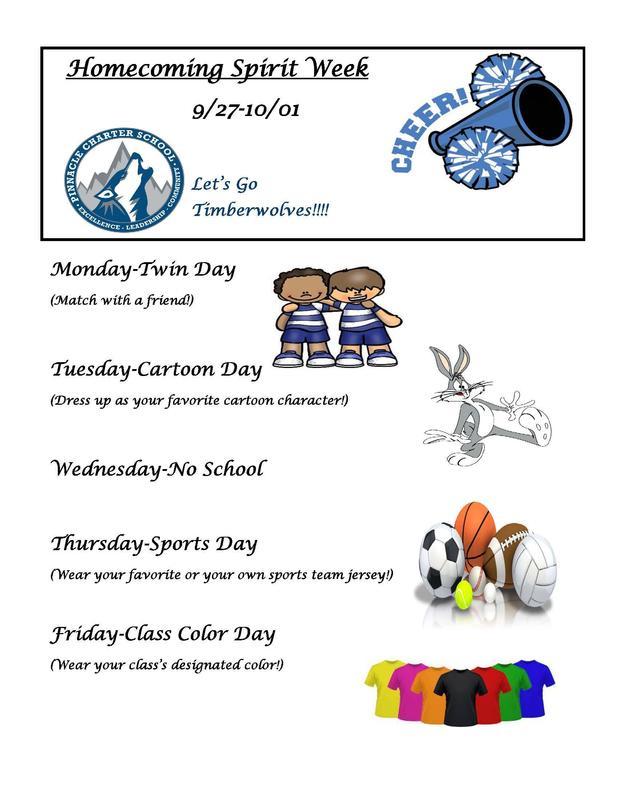 Homecoming Spirit Week 9/27-10/01!!