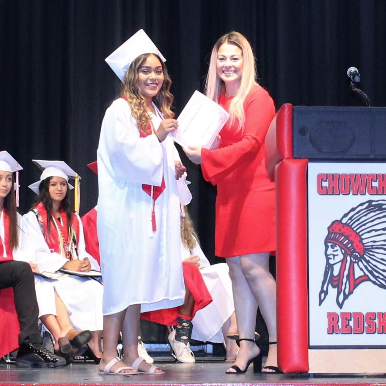 Cheymy Granados Manzo, CUHS Guidance Counselor Elizabeth Alamanzar Wilson