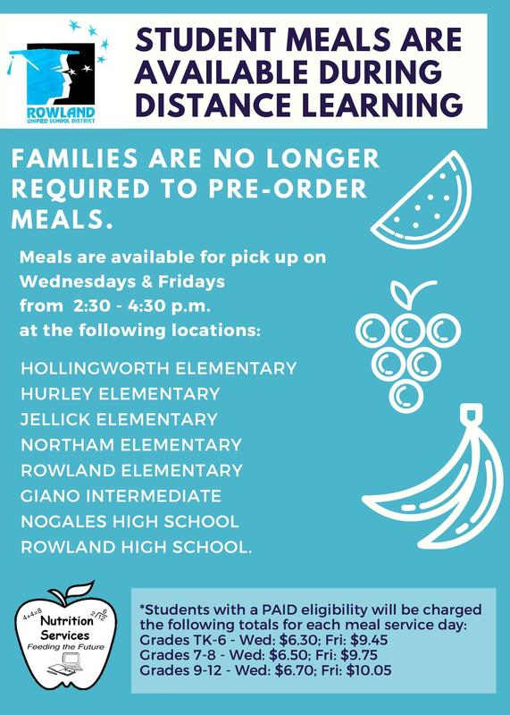 Student Meals Wednesdays and Fridays