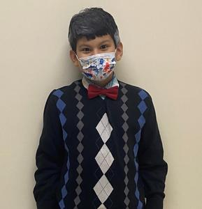 Student dressed up for 100th day of school