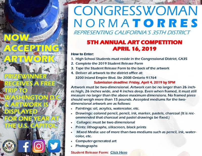 Congresswoman Norma Torres now accepting artwork, Prize winner receives a free trip to Washington D.C. & artwork is displayed for one year at the U.S. Capitol