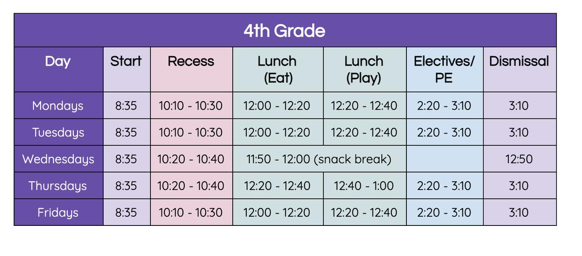 4th grade bell schedule
