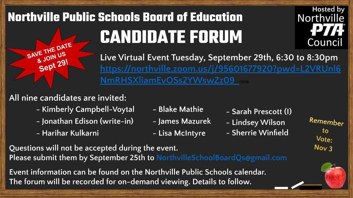 NPS Board of Education Candidate Forum Flyer