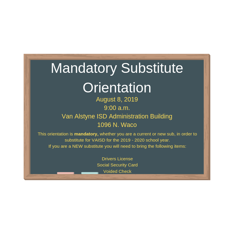 Mandatory Substitute Orientation - August 8th, 2019 9:00 a.m Thumbnail Image