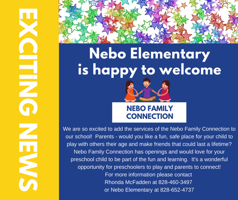Exciting News Flyer new program Nebo Family Connection star banner
