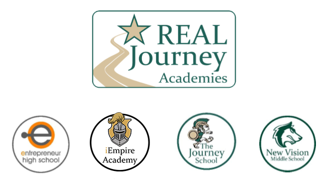 Real Journey square logo with each school site circular logo below.