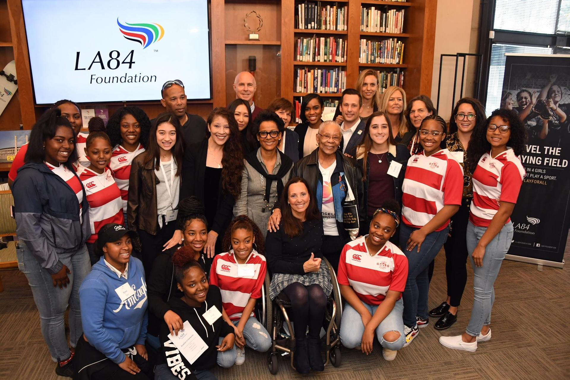 View Park Prep High School Girls with LA84 Foundation CEO Renata Simril celebrating National Girls & Women in Sports Day, 2018.