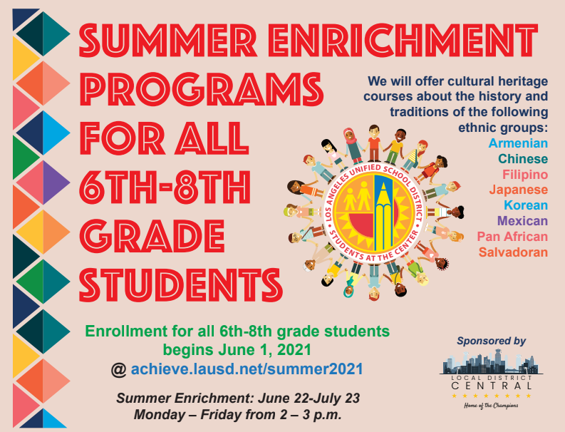 Summer Enrichment Programs for all 6th-8th Grade Students Featured Photo
