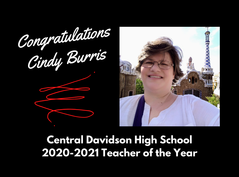 Congratulations Cindy Burris, 2020-2021 Teacher of the Year