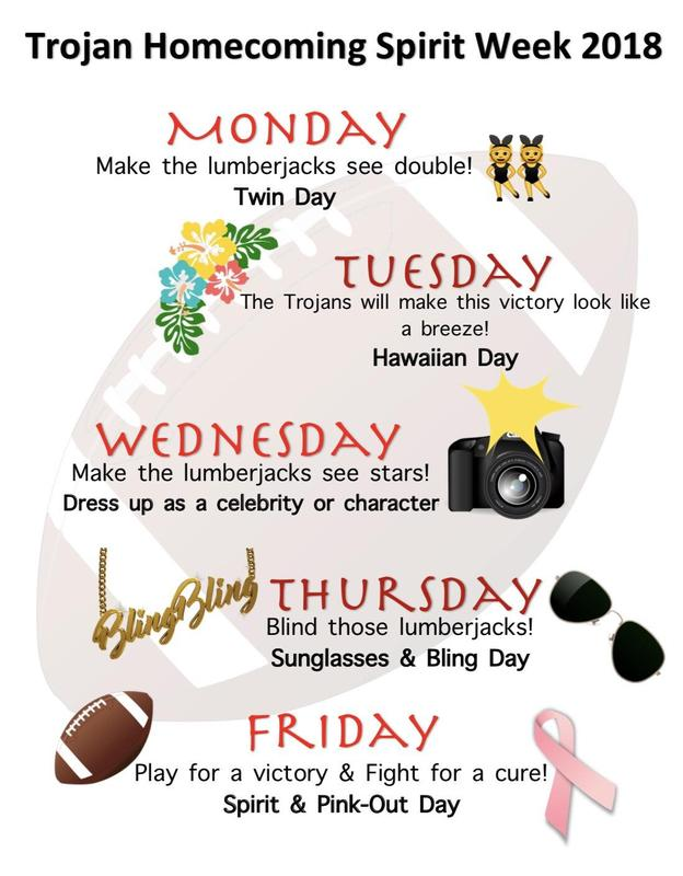 2018 Trojan Homecoming Spirit Week Oct. 8 - 13th Thumbnail Image