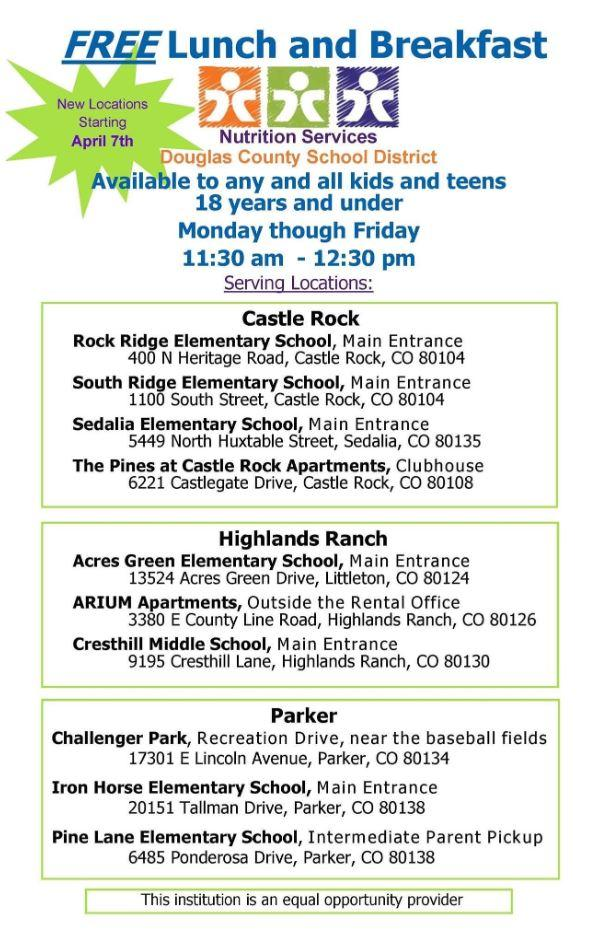LIsting of locations serving free lunch to anyone under 18 years old.