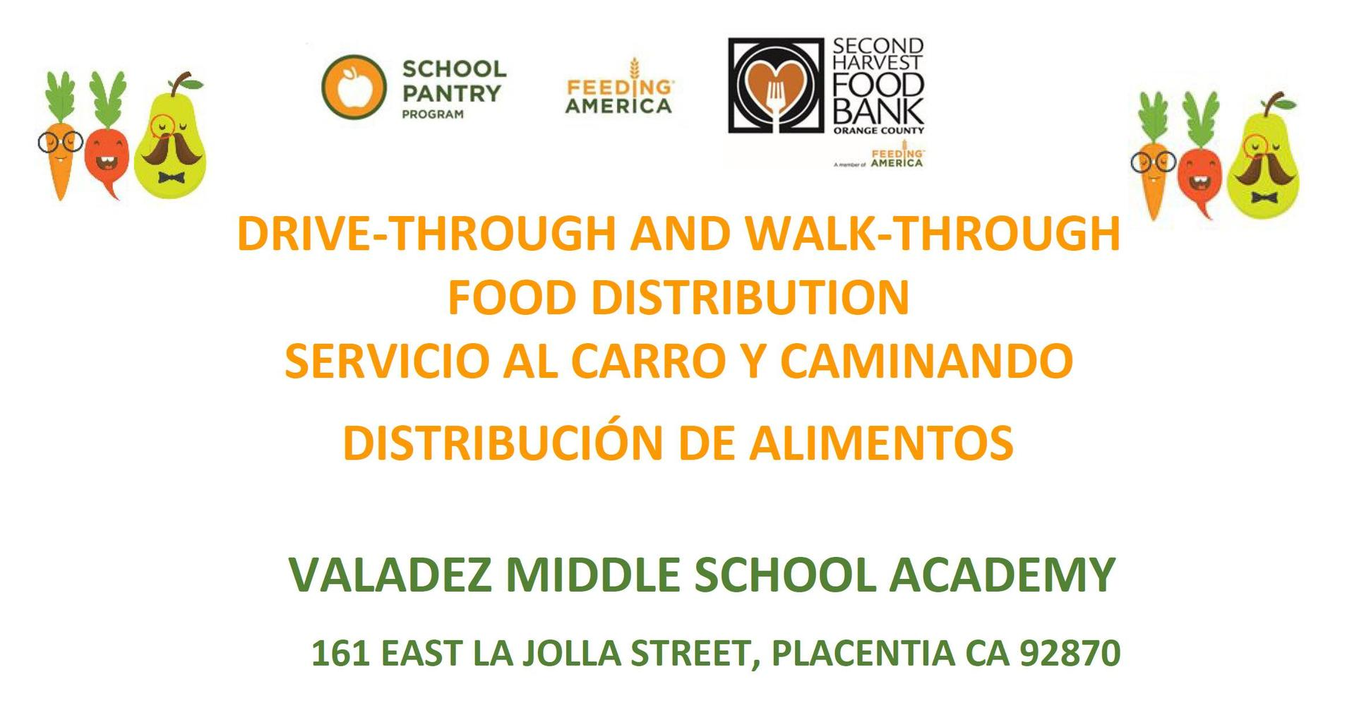 Drive-Through & Walk-Through Food Distribution at Valadez Middle School on June 2, 2020