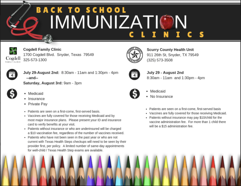 Back to School Immunization Clinics Featured Photo