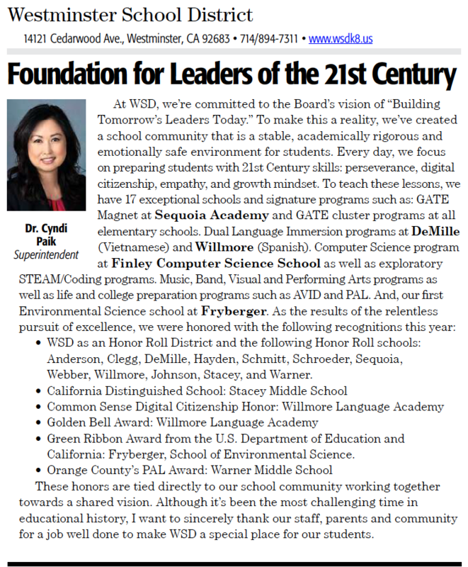 WSD builds foundation for leaders of the 21st century