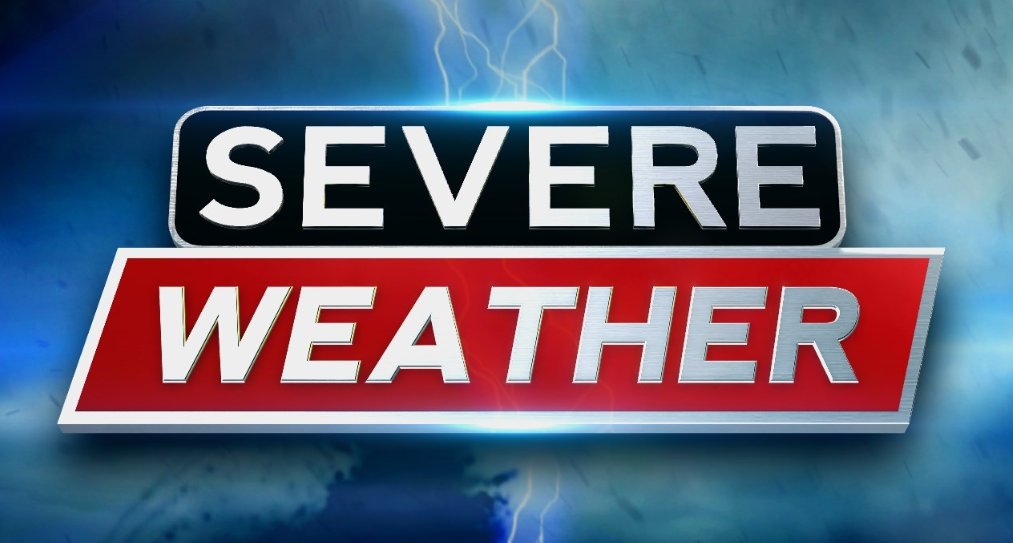 Severe Weather Logo showing a thunderstorm taking place in background.