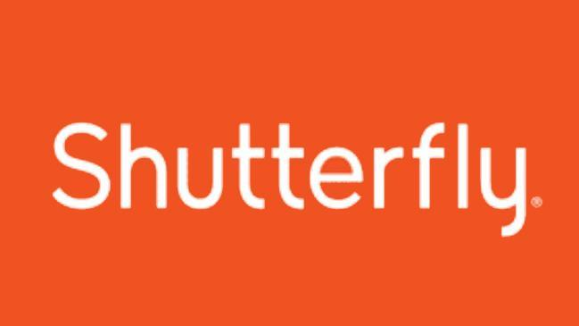 Orange background with white letters: Shutterfly Logo