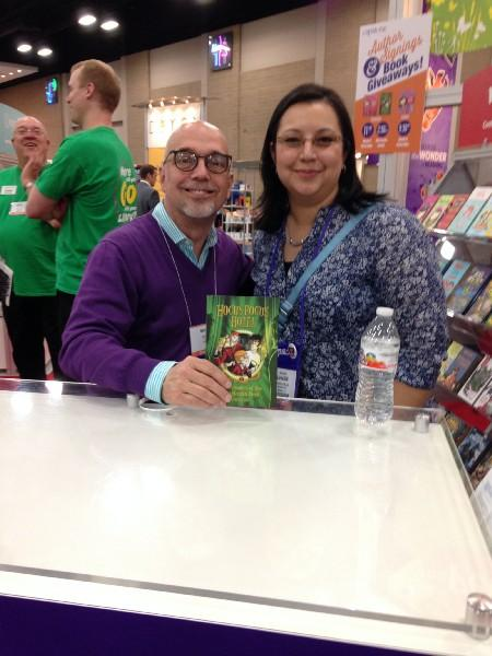 Author with librarian