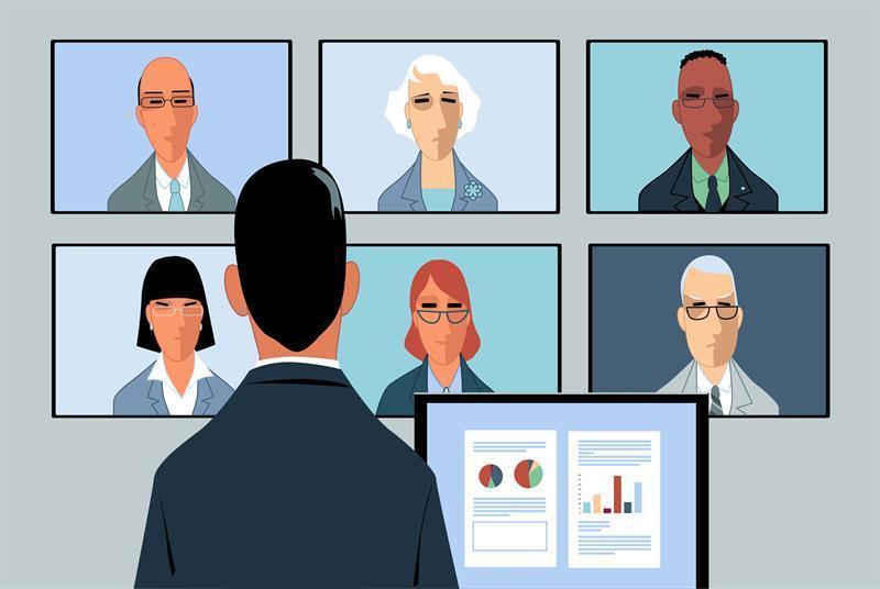 people at a  virtual meeting
