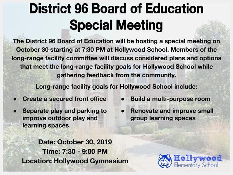 District 96 Board of Education Special Meeting at Hollywood Featured Photo